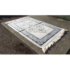 Tapis de Prière en Velours, couleur sable -motif bleu Ardoise
