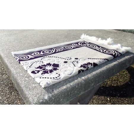 Tapis de Prière - Fond Sable - Motif fleurs - couleur Violet Sombre
