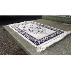 Tapis de Prière en Velours, Fond Sable, Motif Violet Sombre