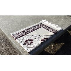 Tapis de Prière en Velours, Fond Sable, Motif Marron Caramelle