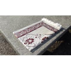 Tapis de Prière en Velours, Fond Sable, Motif Rose Saumon