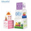Ludo'cubes: Tour de 10 cubes empilables, Jouet d'éveil (Arabe-Français), Educatfal