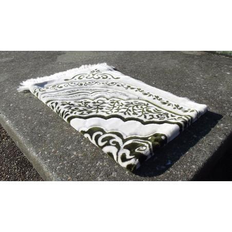 Tapis de Prière épais & grande taille - fond BLANC & motif VERT