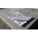 Tapis de Prière épais & grande taille - fond GRIS & motif BLANC