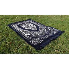 Tapis de Prière épais & grande taille - fond BLEU & motif BLANC