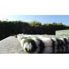 Tapis de Prière épais & grande taille - fond VERT & motif BLANC