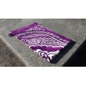 Tapis de Prière épais & grande taille - fond VIOLET & motif BLANC