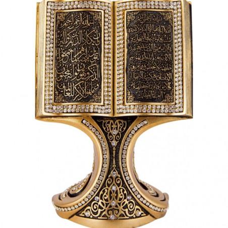 Bibelot Coran ouvert : Objet de décoration doré orné de pierres