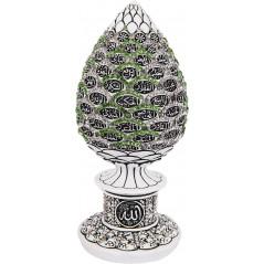 Bibelot Pierre comportant Asma Allah Al Husna : Objet de décoration blanc orné de pierres