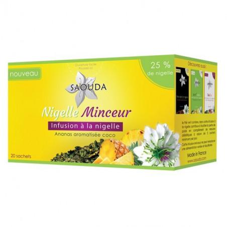 Nigelle Minceur: Infusion à la Nigelle , Thé vert, et Ananas aromatisée Coco , de Saouda , 20 Sachets de 1.6 g
