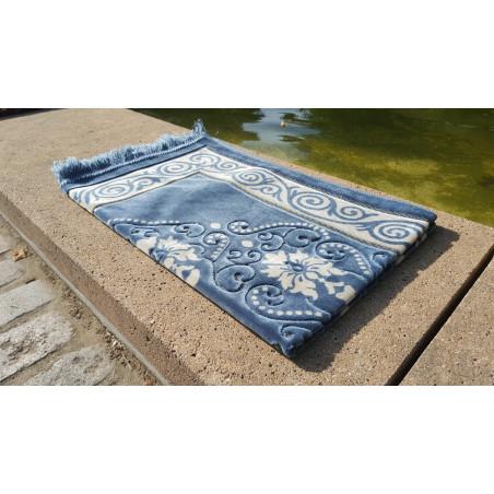 Tapis de Prière - motif fleurs - Fond Bleu ardoise