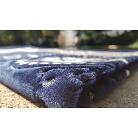 Tapis de Prière - motif fleurs - Fond Bleu foncé