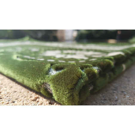 Tapis de Prière - motif fleurs - Fond Vert Sapin