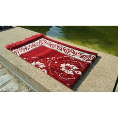 Tapis de Prière - motif jardin - Fond Rouge Pourpre