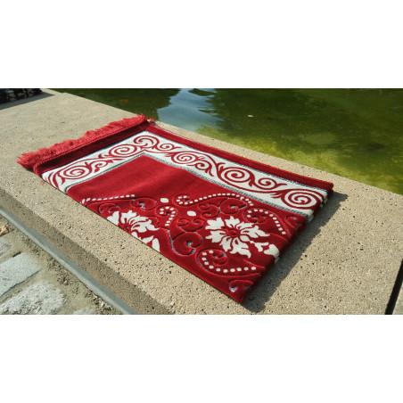 Tapis de Prière - motif fleurs - Fond Rouge Pourpre