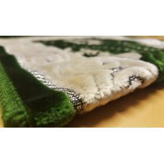 Tapis de Prière pour Enfant - COULEUR VERTE - incrustation filaments argentés - format 75X35 cm