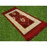 Tapis de Prière pour Enfant - COULEUR ROUGE - incrustation filaments argentés - format 75X35 cm
