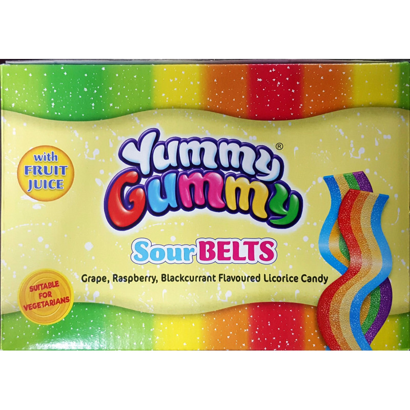 Bonbons Halal (Rubans acidulés sucrés multifruit) – Yummy Gummy  (SourBelts)– Sachet de 80 g