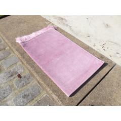Tapis de Prière Enfant (Fille) - En Velours -74 x 48 cm -ROSE PASTEL   Uni