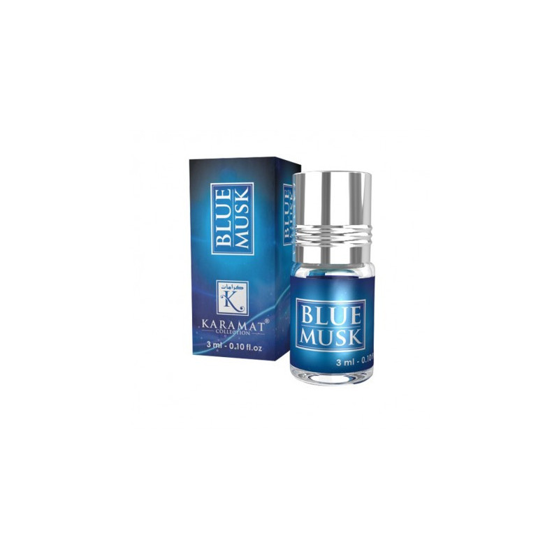 BLUE MUSK - KARAMAT: Parfum concentré sans alcool - Flacon roll-on de 3 ml (Mixte)