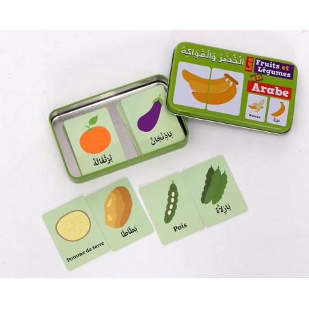 Ma boîte puzzle DUO Les Fruits et Légumes: 32 pièces (boîte métallique) - Arabe/Français