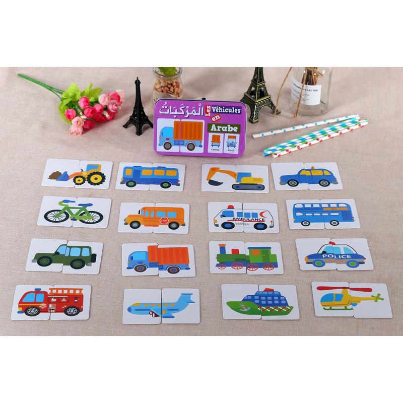 Ma boîte puzzle DUO Les Véhicules: 32 pièces (boîte métallique) - Arabe/Français