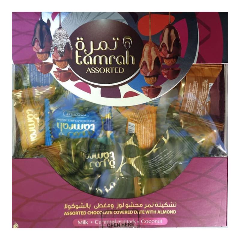 Tamrah - Assortiment Dattes aux amandes enrobées de Chocolat :Chocolat au lait, noir, caramel, noix de coco (200 g)