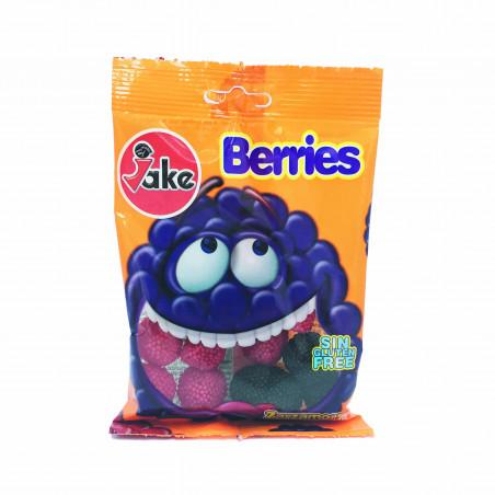 JAKE Berries: Bonbons Halal gélifiés (Mûres et framboises, Sans Gluten)- Sachet de 75 g