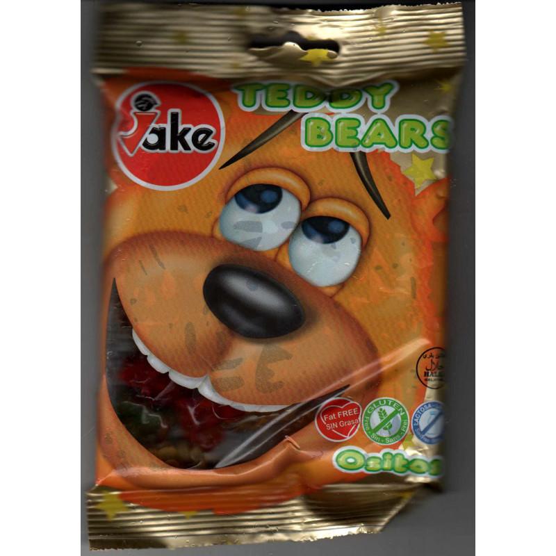 JAKE Teddy Bears: Bonbons Halal (Mini oursons lisses, Sans Gluten, Sans lactose, Sans matières grasses)- Sachet de 100 g