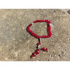 Chapelet musulman en Cristal de Verre pour Tasbih 33 grains (Col. Rouge Translucide)