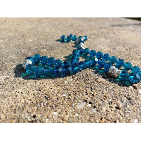 Chapelet musulman en Cristal de Verre pour Tasbih 33 grains (Col. Bleu Translucide)