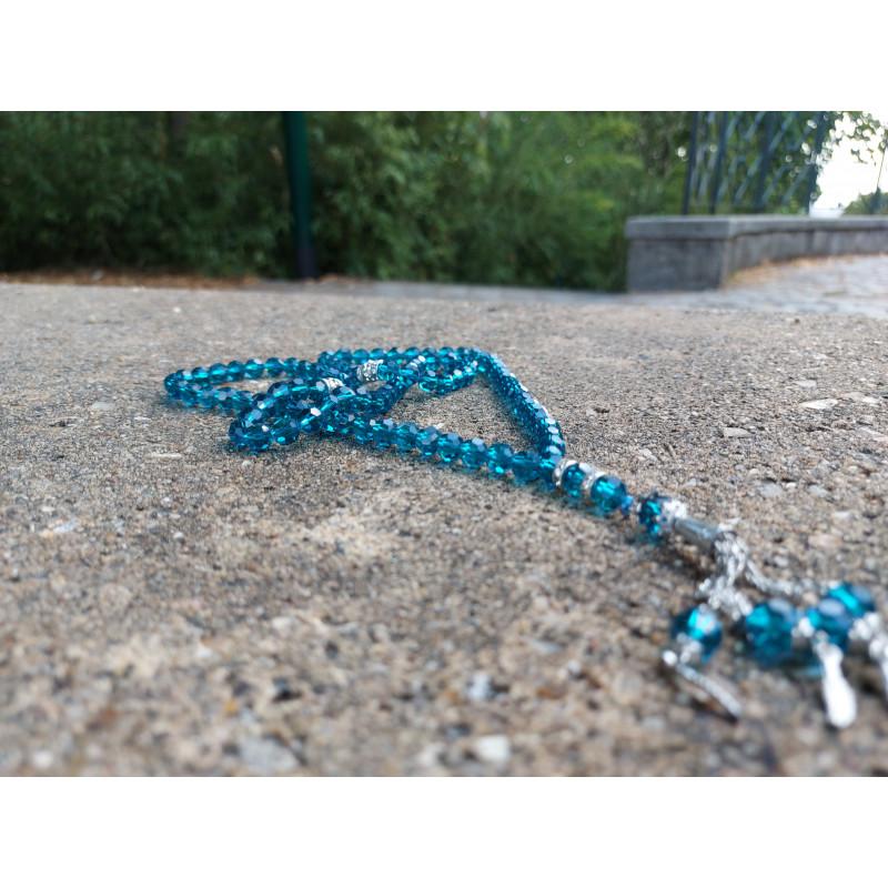 Chapelet musulman en Cristal de Verre pour Tasbih 99 grains (Col. Bleu Translucide)