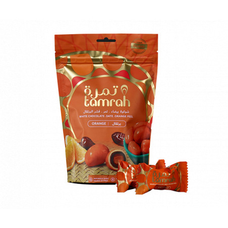 Tamrah Orange - Dattes enrobées de Chocolat blanc et zeste d'orange (80 g)
