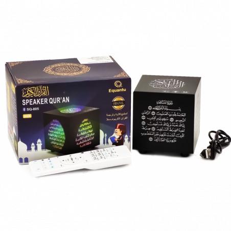 Speaker Qur'an SQ-805 (8 GB): Lecteur Veilleuse coranique table avec Télécommande Haut-parleur Bluetooth (Cube noir)