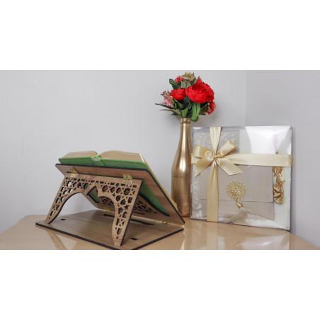 Pupitre en Bois - Porte Livre (Coran) Pliable, Lutrin de lecture (34x 21cm)