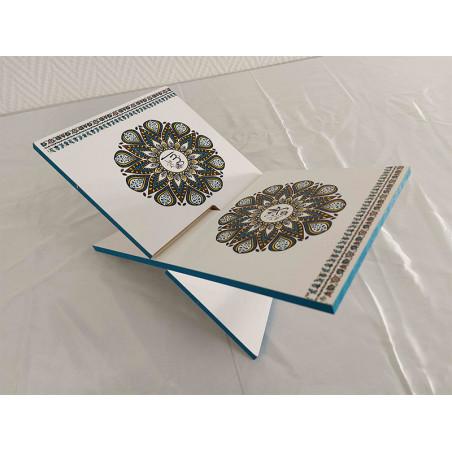 Pupitre en Bois - Porte Livre Pliable, Lutrin de lecture, FOND BLANC MOTIF INDIA (30x18cm)
