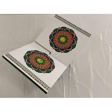 Pupitre en Bois - Porte Livre Pliable, Lutrin de lecture, FOND BLANC MOTIF AFRICA(30x18cm)