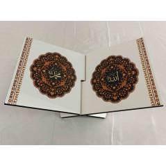 Pupitre en Bois - Porte Livre Pliable, Lutrin de lecture, FOND BLANC MOTIF FLEUR(30x18cm)