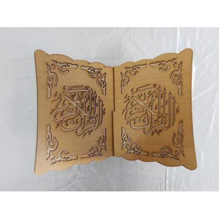 "Porte coran en bois Pliable calligraphié ""القرآن الكريم"", Lutrin de lecture (33 x 23 cm), Support Coran (Beige)"