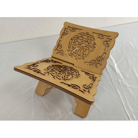 Pupitre en Bois - Porte Livre Pliable, Lutrin de lecture, Arabesque découpé sur bois, Couleur BEIGE(33x23cm) -PF