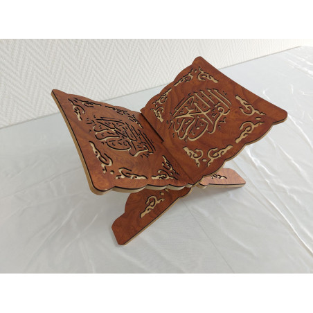 Pupitre en Bois - Porte Livre Pliable, Lutrin de lecture, Arabesque découpé sur bois, Couleur MARRON(33x23cm) -PF