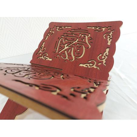 """Porte coran en bois Pliable calligraphié """"القرآن الكريم"""", Lutrin de lecture (33 x 23 cm), Support Coran (Rouge)"""