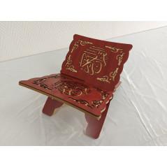 Pupitre en Bois - Porte Livre Pliable, Lutrin de lecture, Arabesque découpé sur bois, Couleur ROUGE(33x23cm) -PF