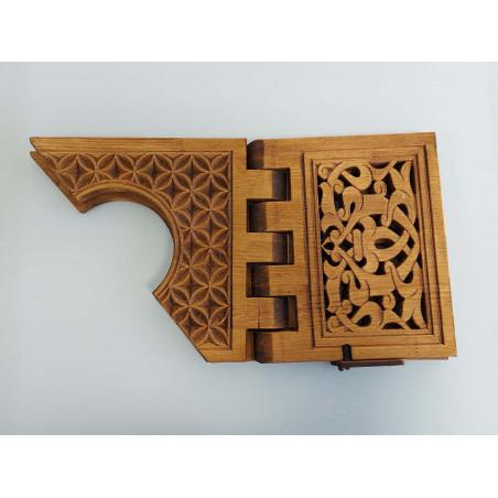 Pupitre en Bois : Porte Livre Pliable, Lutrin de lecture Bois artisanal avec rabat de fixation de Livre (52x30 cm) - REF-TS-020
