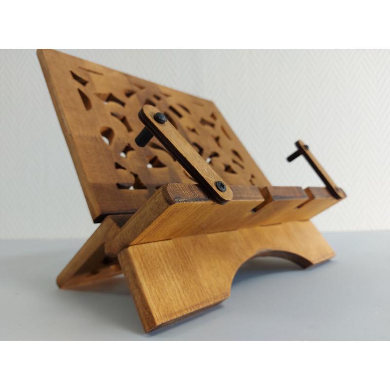 Pupitre en Bois - Porte Livre Pliable, Lutrin de lecture, Bois artisanal avec RABAT de FIXATION de Livre(37x30 cm) - REF-TS-021