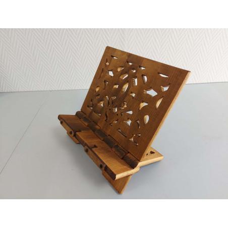 Pupitre en Bois : Porte Livre Pliable, Lutrin de lecture Bois artisanal avec rabat de fixation de Livre (37x30cm) - REF-TS-021