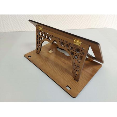 Pupitre en Bois : Porte Livre Pliable, Lutrin de lecture, Support Coran Décoration usiné par CNC haute précision (34x21cm)
