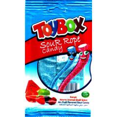 ToyBox Sour Rope Candy - Bonbons Halal Bâtons acidulés aux fruits assortis - Sachet de 80 g