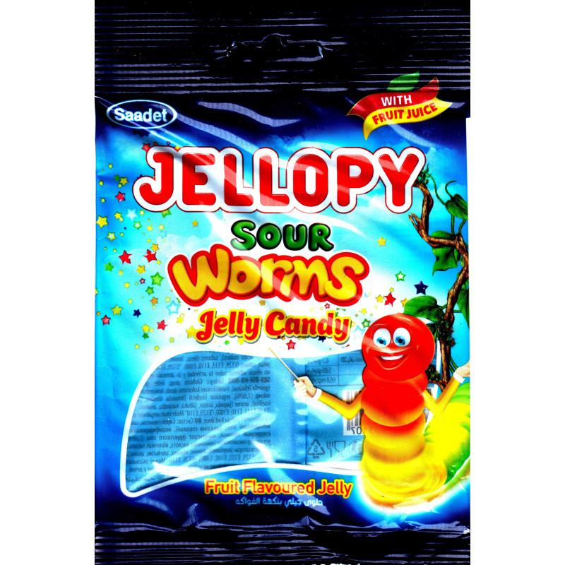 Saadet Jellopy sour Worms Jelly Candy - Bonbons Halal gélifiés Vers de terre goût fruité- Sachet de 80 g