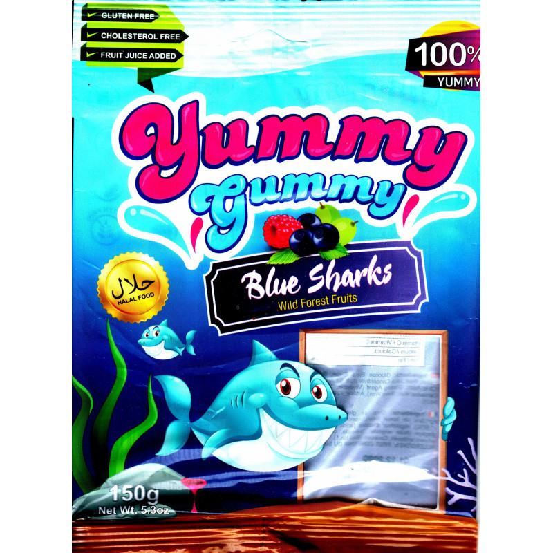 Yummy Gummy Blue Sharks - Requins gommeux bleu, gôut fruits sauvages, Sans Gluten, Sans cholestérol - Sachet de 150 g